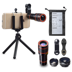 APEXEL 4 in 1 12x Zoom Telephoto Lens + wide angle + macro + fisheye Aluminum Tripod Mobile Phone Camera Lens for iPhone 8
