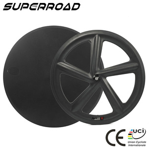 SUPERROADBIKE 700C Front 5 Spokes Rear Disc Wheelset Tubular Track Carbon TT Wheels
