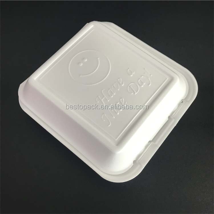"8 ""x 8"" 3 compartimento tirar PS foam food recipientes caixa de almoço"