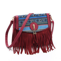 2018 Fashion Latest Ladies Handbag pu leather tassels bag for women