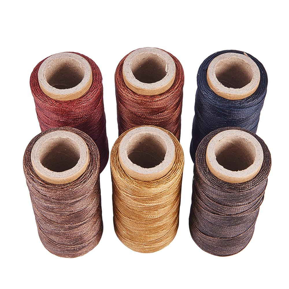 PandaHall Environmental Waxed Polyester Cord Mixed Color 1mm about 100m/roll 4rolls/set