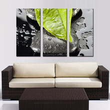LK362 3 Panel Greed Leaf And Stone With Drop Of Water Wall Art Modern Pictures Print On Canvas Paintings Sale For Home Bar Hub K