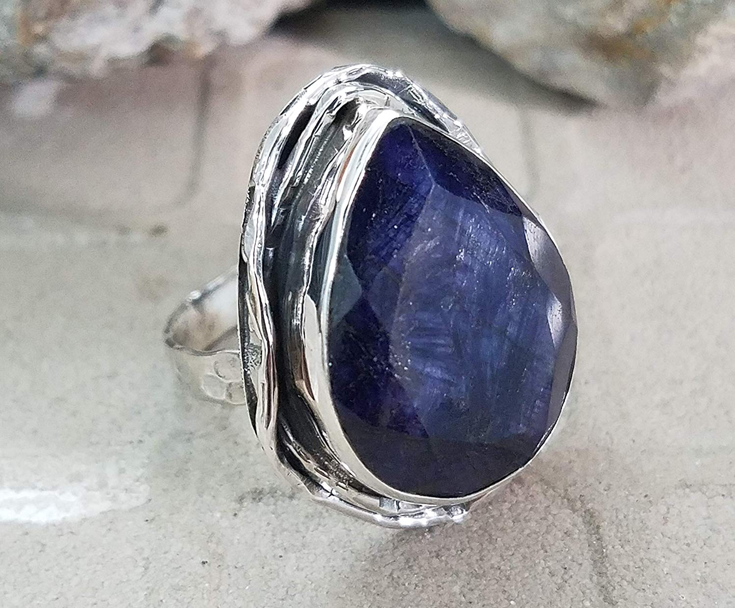 Sapphire Ring.925 Sterling Silver.Classic Modern Design.Casual & Fine Jewelry.Beautiful Blue Ring.Vintage Style Ring.Filigree & Victorian Ring.Fantastical Jewel.Charm & Top Ring.Mermaid Gift