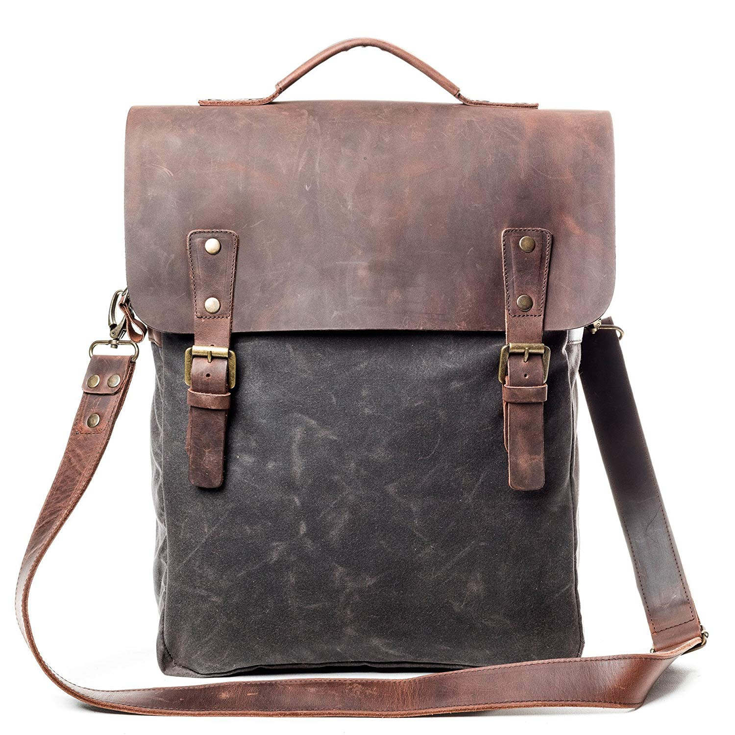 Vintage Handmade Slim Flap Backpack - Made From Waxed Canvas & Leather - High Quality Retro Laptop Rucksack With Waterproof Lining For Men And Women