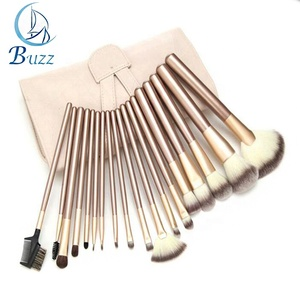 Professional PU Leather Bag private label 18 PCS Soft Cosmetic Makeup Brush Set