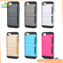 For iphone7 high quality Mobile phone PC leather Skin hard case with credit card holder