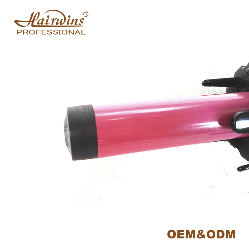 HW-400 Private label auto ceramica bigodino di capelli automatico rotante curling iron bacchetta con display A LED come visto in tv