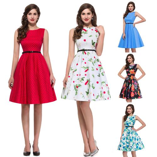 Get Quotations · 2015 Summer 50s 60sRockabilly Swing Print Vintage Polka  Dot Dress Pinup Casual Women Skater Flare Dress 4e11854501c5
