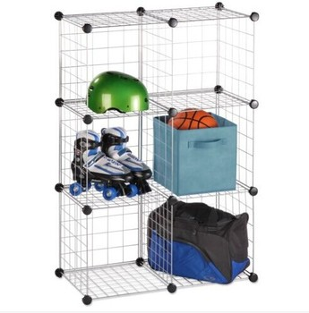 6 Storage Cubes  Stacking Wire Cube Set Closet Organizer Bins Bask   FH ALW0023. 6 Storage Cubes Stacking Wire Cube Set Closet Organizer Bins Bask