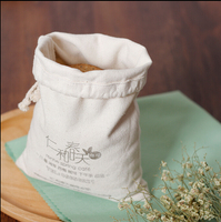 Small cotton canvas drawstring pouch bag