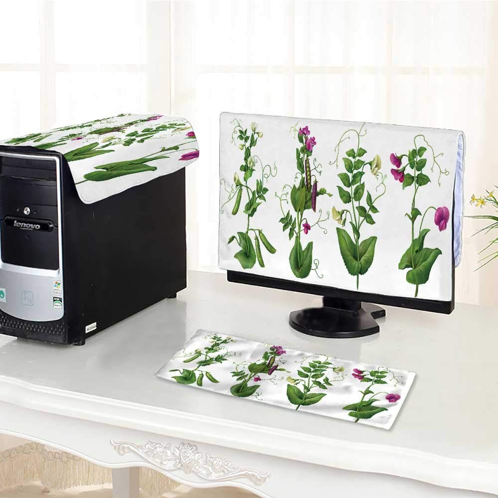 UHOO2018 Keyboard dust Cover Computer 3 Pieces White and Purple Pea Plants Computer dust Cover /23""