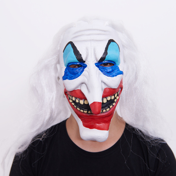 Halloween Party Masks Cosplay Clown Mask White Wig Horror Masquerade Performance Show Dress Up Props DN2311