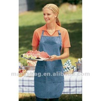 Denim Full Length Apron with Pockets
