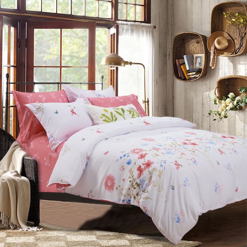 shabby chic comforters and quilts pink and white bed sheets floral bed linen microfiber. Black Bedroom Furniture Sets. Home Design Ideas