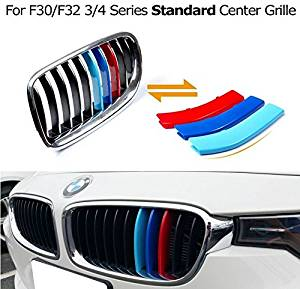 JessicaAlba Exact Fit ///M-Colored Grille Insert Trims For BMW F30 3 Series 320i 328d 328i 335i and F32 4 Series 428i 435i w/ Standard Kidney Grill (11 Beams), NOT for the 8-Beam Black Grille