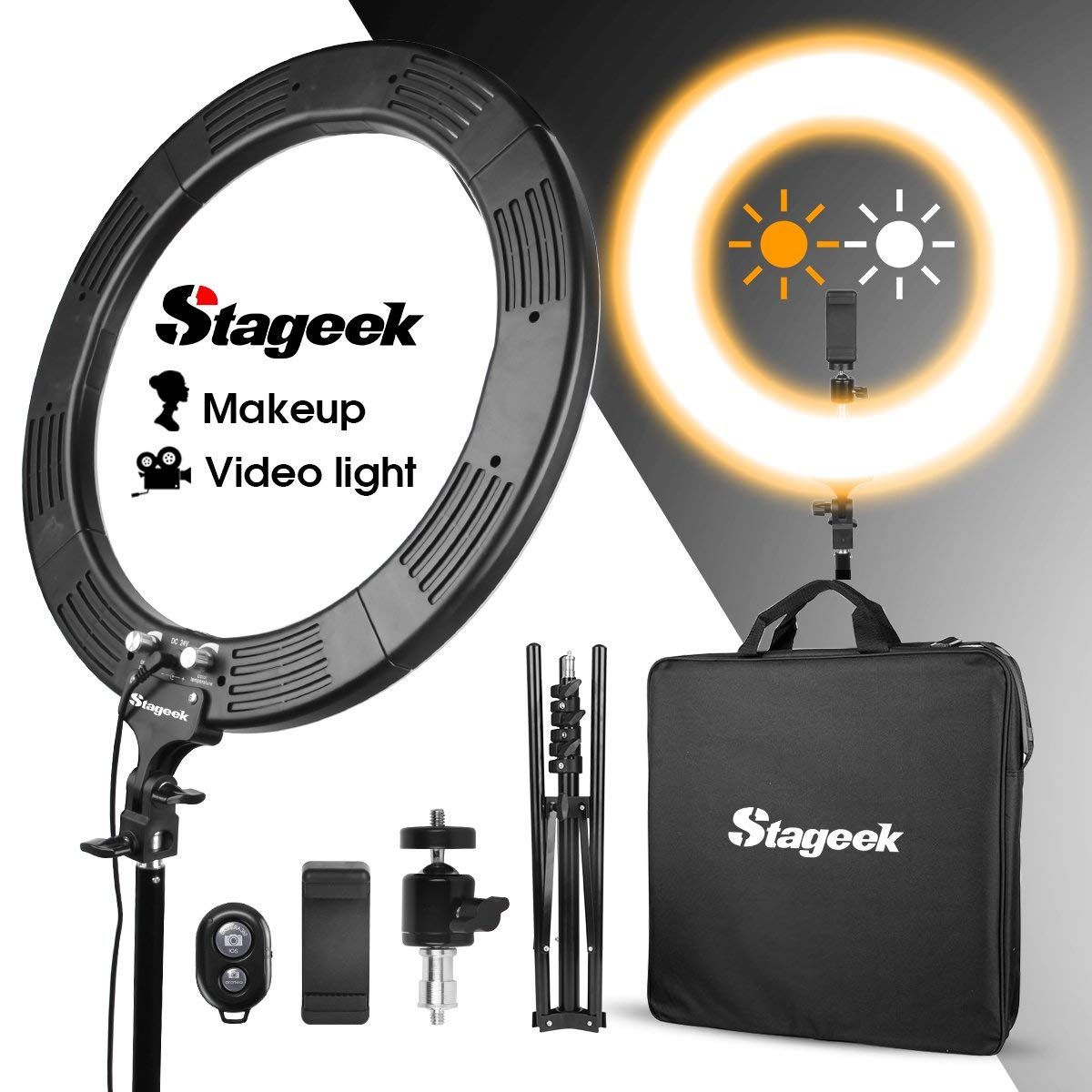 """LED Ring Light, Stageek 18"""" Dimmable SMD LED Ring Light, 60W 5600K Bi-Color Camera Photo Video Lighting Kit with Tripod Stand, Phone Holder, for Smartphone,Youtube, Self-Portrait Makeup Video Shooting"""
