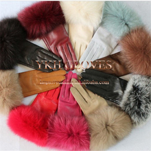 Genuine rabbit fur <span class=keywords><strong>donne</strong></span> di modo di inverno <span class=keywords><strong>guanti</strong></span> in pelle