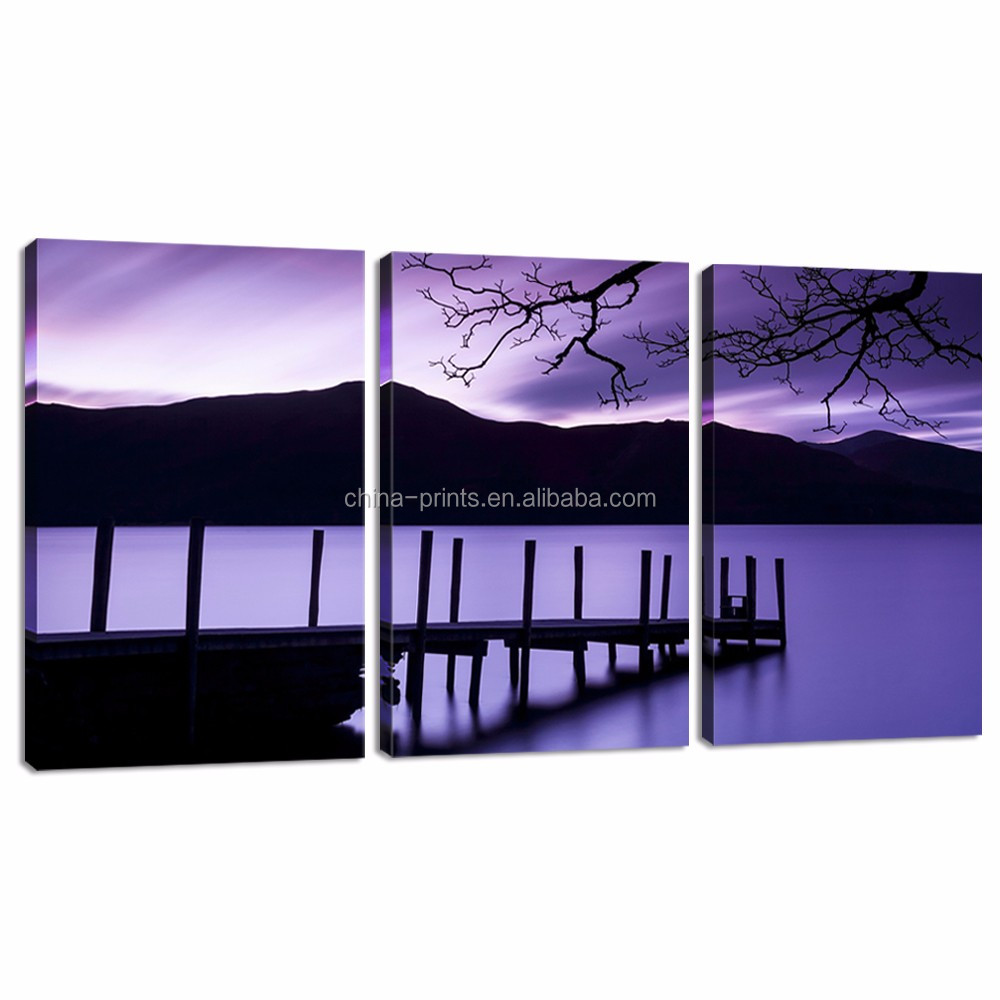 Purple Lake Canvas Art/3 Panel Giclee Artwork for Living Room/picture to Photo Wall Art Home Decoration