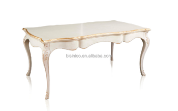Baroque Antique Style White Painted Dining Room Furniture Dining Table,  French Style Luxury White Dining