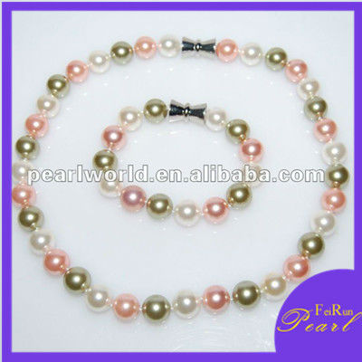 immitation/sea shell pearl necklace and bracelet jewelry set