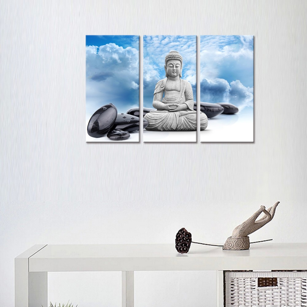 Buddha Canvas Wall Art,Blue Sky,Zen Spa Stone Picture Stretched on Wood Frame Wholesale Canvas Printing Artwork