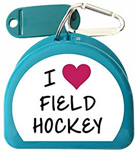 Zumoe Field Hockey Mouth Guard Case, Sports Mouthguard Case, Retainer Case or Dental Case called I LOVE Field Hockey