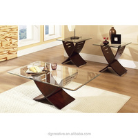 Set of 3 Espresso Wood Glass Table