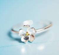 korea flower opening ring adjustable 925 sterling silver rings