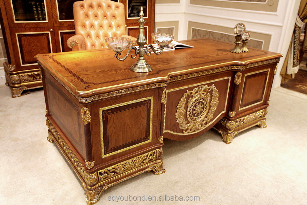 0062 european style luxury wooden executive office desk Luxury wood furniture