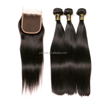 High quality brazilian straight human hair 7a hair 3 bundles with lace closure 100 unprocessed human hair weave with closure