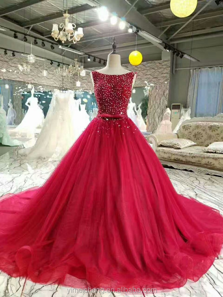 Hot fashion red sequin beaded sleeveless roundneck china guangzhou bridal wedding dresses