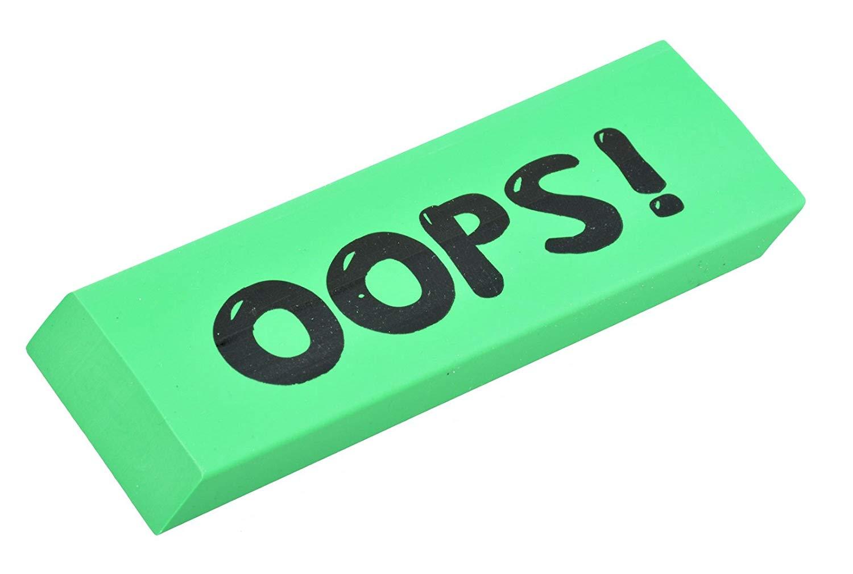 OOPS! Green Jumbo Eraser for The Big Mistakes! (Funny Humor Desk Student School Teacher Job Office Lawyer Accountant Boss Secretary)