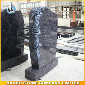 Haobo Factory Vizag Blue Stone Carving Painted Gravestone