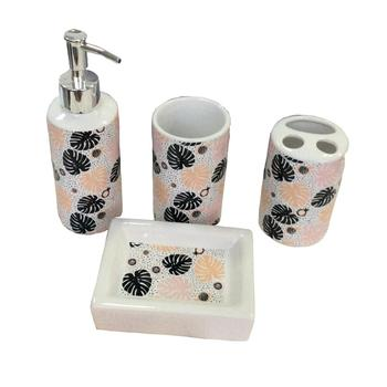 Hand Painted 4 pieces ceramic bathroom set