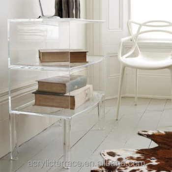 Two Tier Clear Acrylic Side Table, Book Shelf