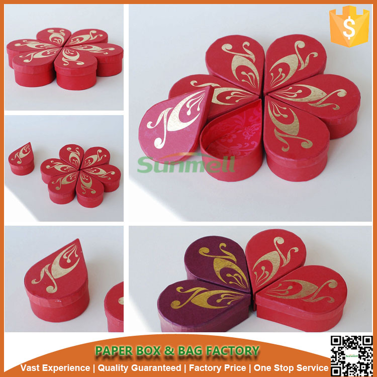 High quality flower printing shape cardboard box,Can be separated to six small petals box