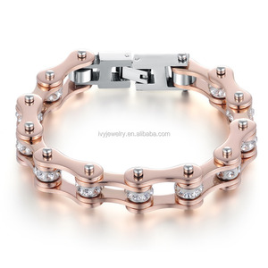 ISL817122907 Stainless Steel Motorcycle Bike Chain Bracelet with Rhinestones For Women Small MOQ