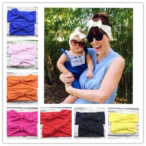 New Fashion mom and me headband Turban Headband Pair Set Top Knotted Headband Set Baby and Mommy Cotton Headwrap Set