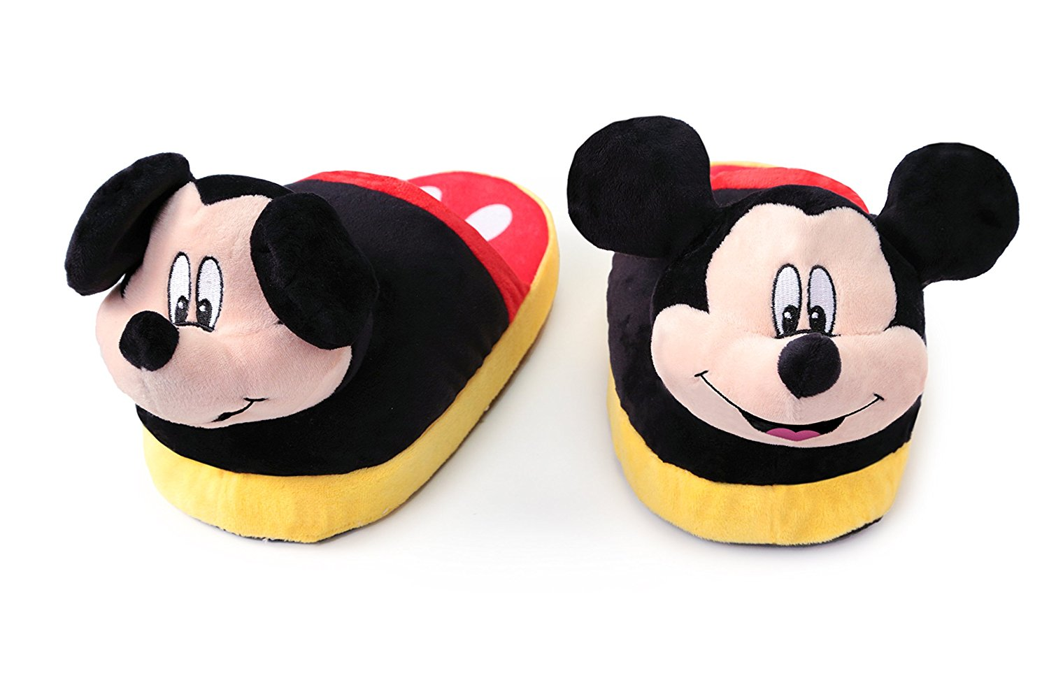a91d60fc476 Get Quotations · Stompeez Animated Mickey Mouse Plush Slippers - Ultra Soft  and Fuzzy - Ears Flap as You
