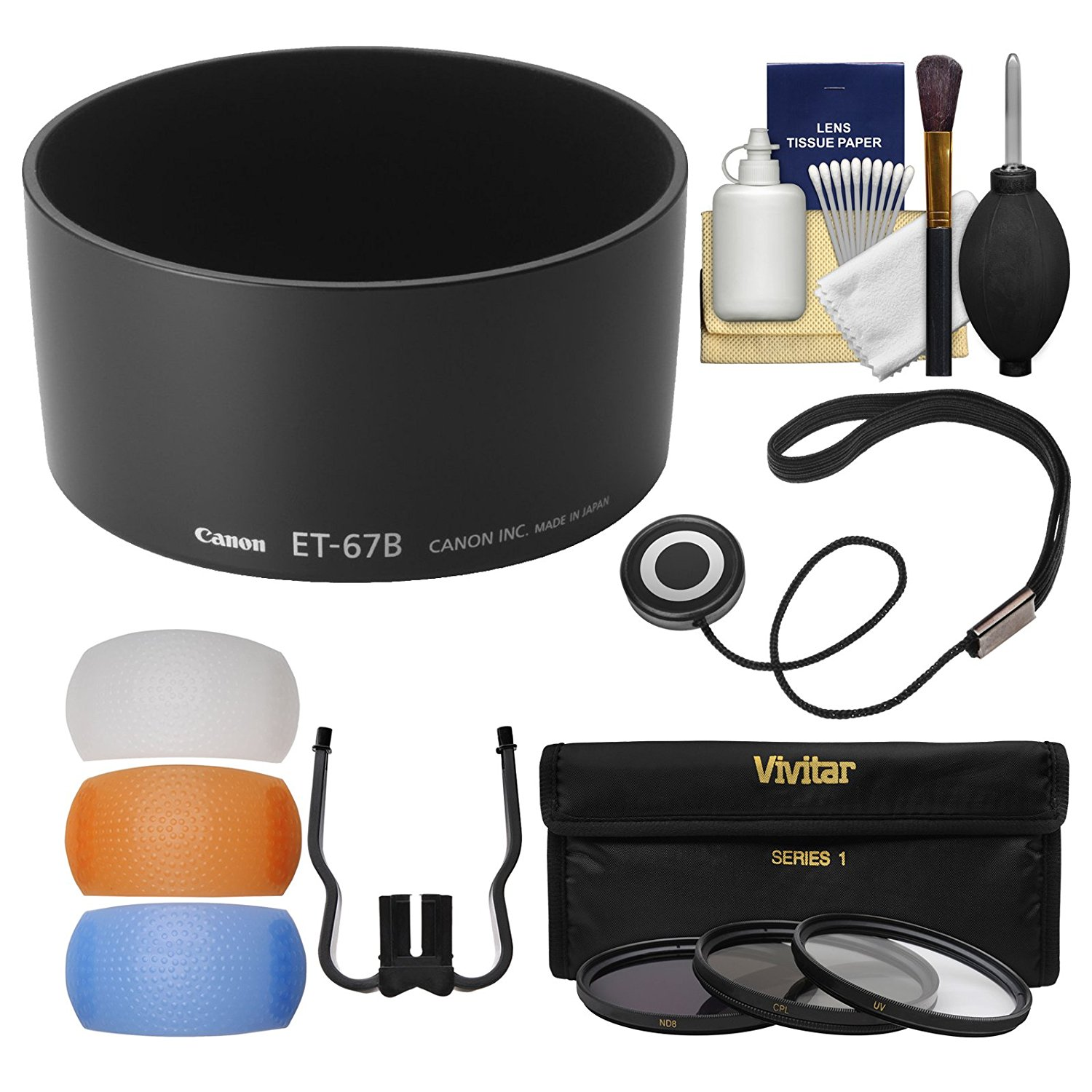 Canon ET-67B Lens Hood for EF-S 60mm f/2.8 Macro with 3 UV/CPL/ND8 Filters + Flash Diffuser + Cleaning Kit