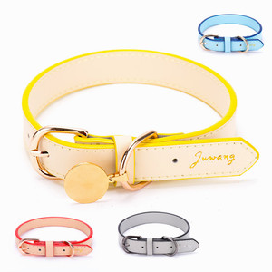 Customize Pet products supplies pet Collar Soft Plain Luxury Genuine Real Leather Dog Collar