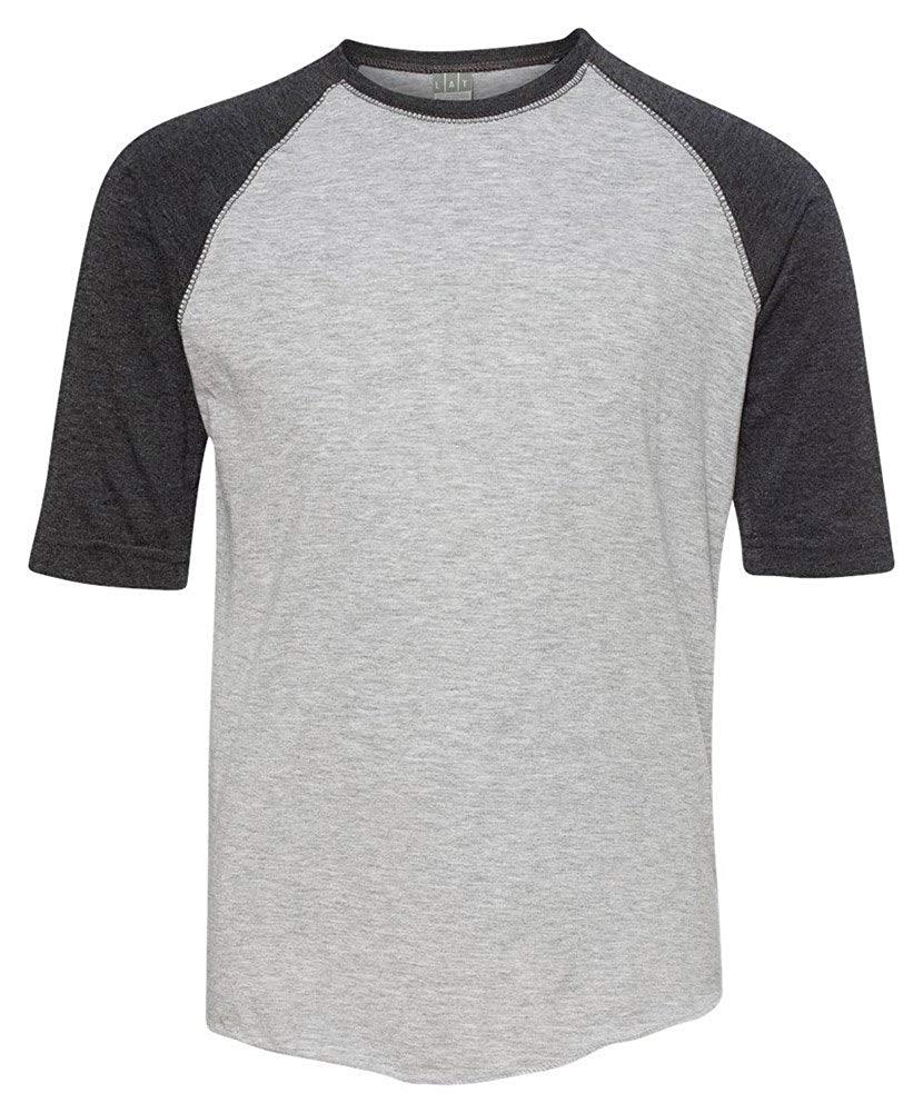 LAT Youth Vintage Fine Jersey 3/4-Sleeve Baseball T-Shirt, Hthr/Smoke, Medium