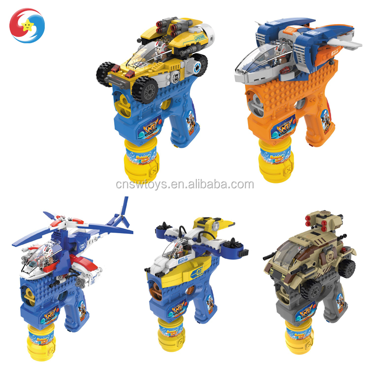 2018 Hot selling Electric BO Puzzle Bubble Gun with DIY Helicopter Car Plan Plastic Bricks Building Blocks Toys Shantou factory