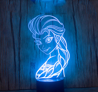 Frozen Queen 3D Light Table Lamp Home Decor Gadgets LED Night Light Kids Table Desk Lamp