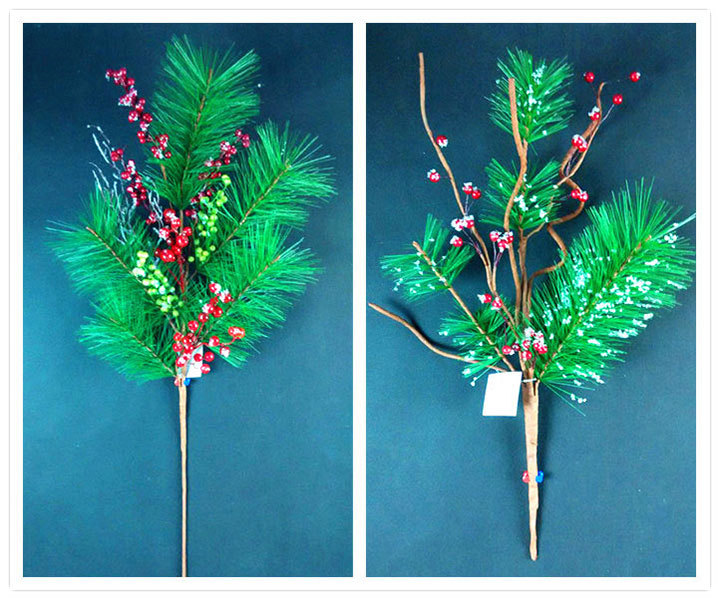 Natural Red Berry Long Pine Cone Pine Needle Mixed Artificial ...