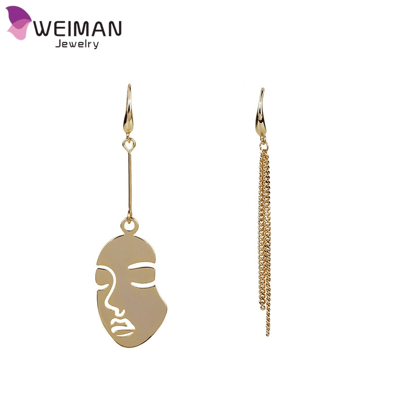 2017 New Style Asymmetric Long Earring Gold Face Dangle Earrings for Women