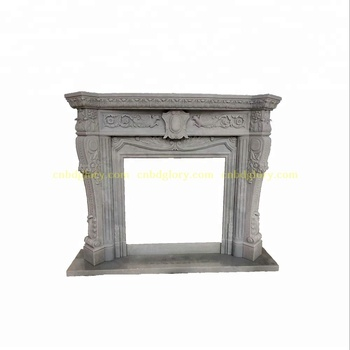 Hand Carved New product design Hunan White Marble Fireplace