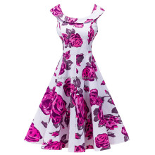 HD-64 <span class=keywords><strong>Frauen</strong></span> Dehnbare Baumwolle Satin Print Lady <span class=keywords><strong>Elegante</strong></span> Vintage Kleid Made In China