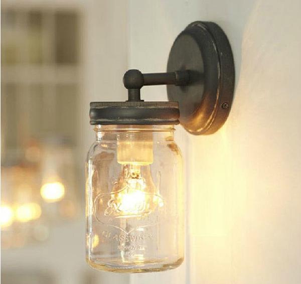 mason jar loft applique murale industrielle r tro entrep t. Black Bedroom Furniture Sets. Home Design Ideas