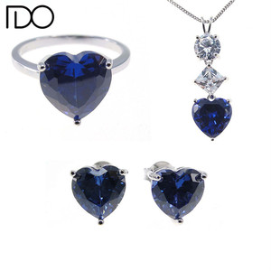 High quality costume jewelry from china tanzanite color heart gemstone jewelry set jewellery full set